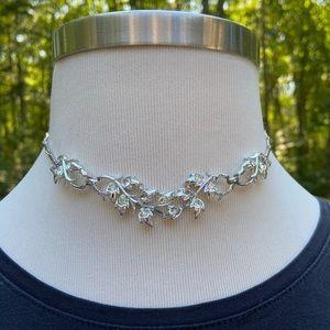 Vintage Silver & Crystal Cocktail Necklace